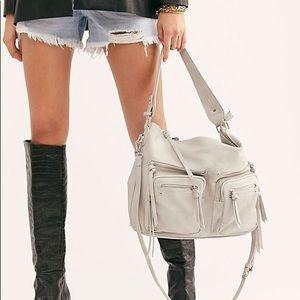 Free People Light Gray Alexandra Moto Hobo Bag